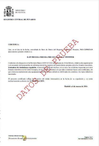 ejemplo certificado de penales